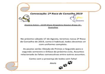 Segunda Roca de Conselho - Dia 17/08/2019